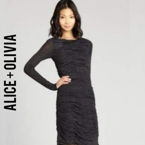 NWT Alice + Olivia Charcoal Ruched Jersey Dress Lg